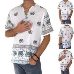 Love Quality Men's Elephant Print T-Shirt 100% Cotton Hippie Yoga Top Summer Shirt