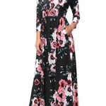 Gamiss Women Vintage Floral 3/4 Sleeve Long Dress Boho Casual Wedding Party Maxi Dress