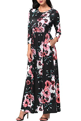 6704e3388a5 Gamiss Women Vintage Floral 3 4 Sleeve Long Dress Boho Casual Wedding Party Maxi  Dress. Hippie Clothes Shop ...