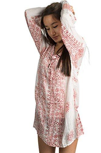 Tribe Azure Summer Hippie Boho Women's Long Sleeve Tunic Casual Blouse OM Loose Shirt Top Casual