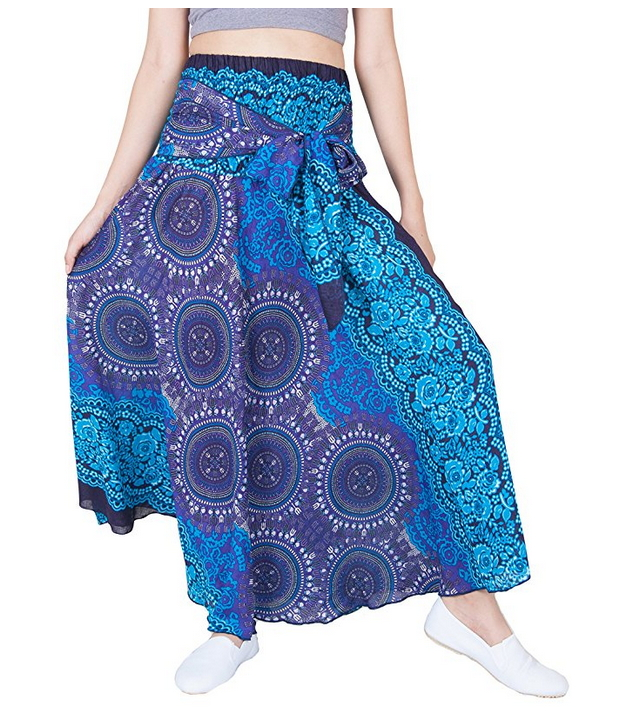 Lofbaz Bohemian High-Waisted Women's Skirt Hippie Style Flowers One Size