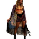 GBSELL Women's Hippie Boho Print Loose Long Shawl Kimono Cardigan Cover up Blouse