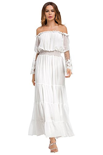 4d7b688f7d5 Off Shoulder Dresses White Lace for Women Maxi Sexy Cocktail Formal Evening  Party Wedding Chiffon Dress Long Sleeve. Hippie Clothes Shop ...