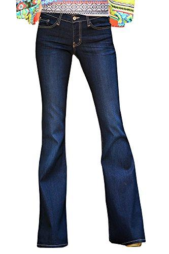 Syktkmx Womens Wide Leg Flared Jeans Long Denim Bell-Bottoms Office Lady Pants