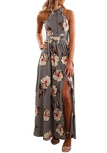 b42be74232368 YOMISOY Womens Boho Dress Floral Printed Split High Waisted Maxi Beach  Dresses