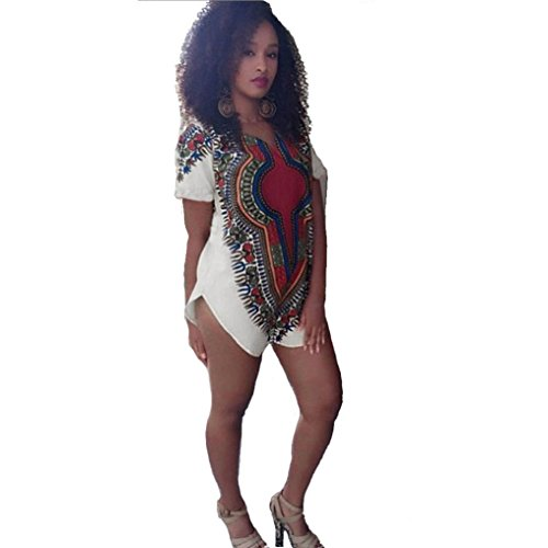 b2a5624332f Kangma Women V-Neck Short Sleeve Traditional Tribal African Dashiki Party Hippie  Dress