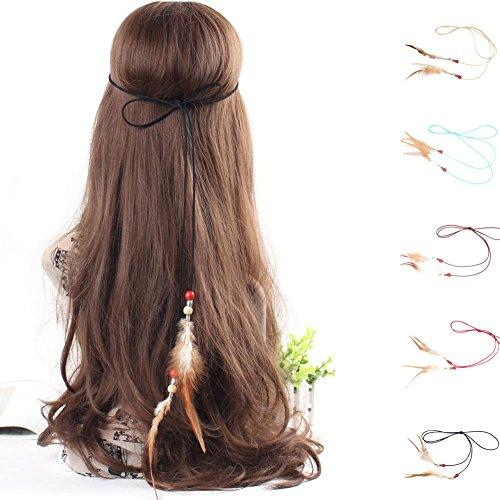 d6b0db94d1290 BAOBAO Boho Women Tassel Leather Feather Beads Hairband Hippie Headband  Headwear