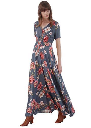 842962daeebf Pintage Women s Flowy Boho Dress Floral Maxi Dress