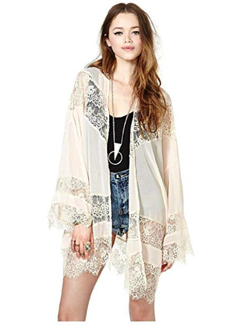 93a471807b4 Gypsy Women Vintage Hippie Boho Kimono Cardigan Lace Crochet Jacket Tops  Blouse